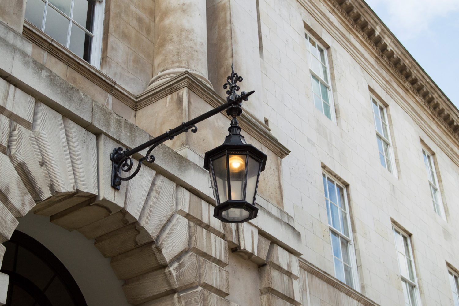 5 Stone Buildings - entrance lamp