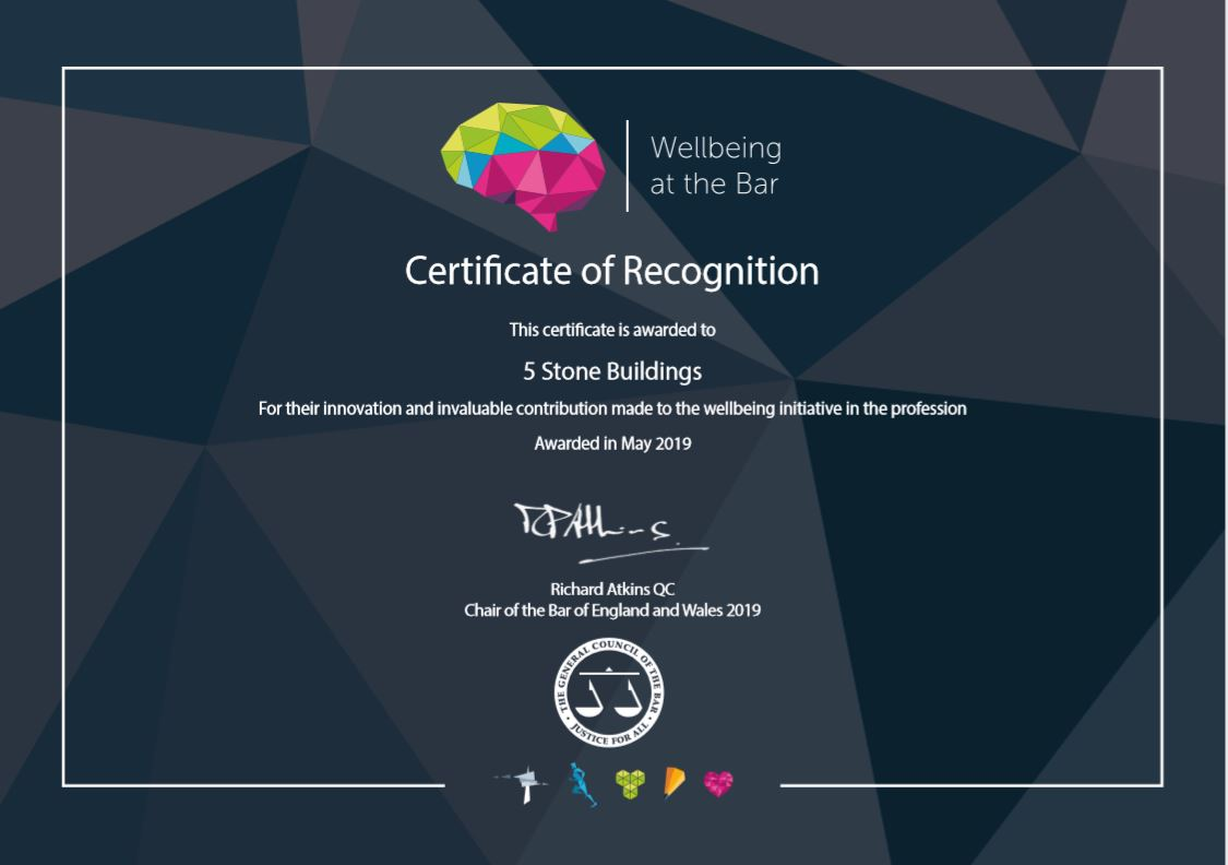 Chambers is awarded a Bar Council Certificate of Recognition for its work on wellbeing